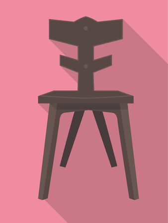 chair wooden: vector flat design icon of a wooden chair