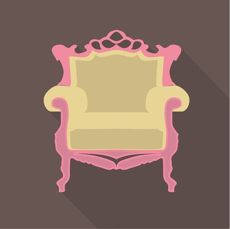 single seat: vector flat design icon of a vintage baroque single seat