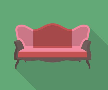 divan: vector icono de diseño plano de un sofá
