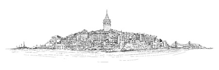vector sketch drawing panoramic galata tower Stock Illustratie
