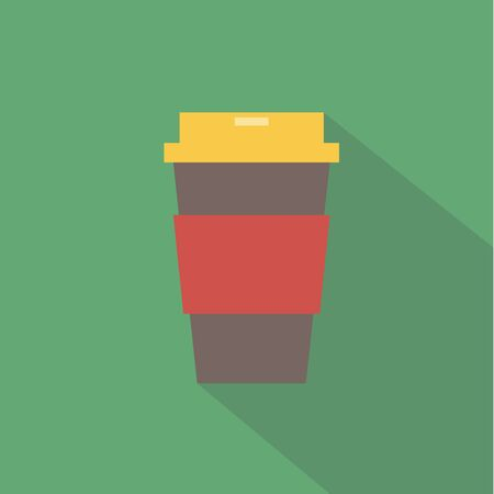 take out food container: vector illustration flat icon of Coffee in takeaway cup