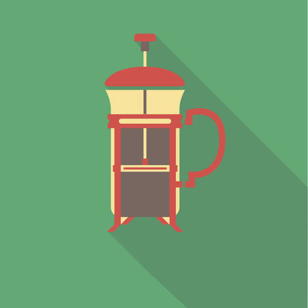vector illustration flat icon of French press coffeemaker