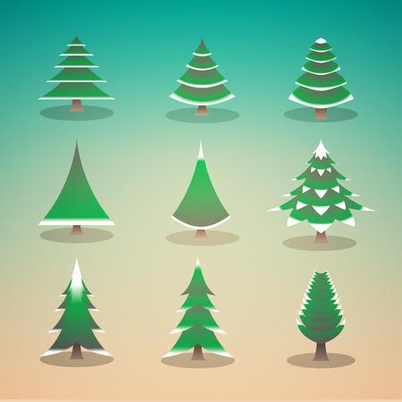 yearrn: vector illustration of pine tree set Illustration