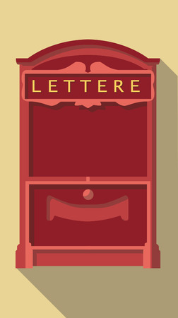 metal mailbox: Vector Flat long shadow icon of vintage post box
