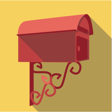 office romance: Vector Flat long shadow icon of vintage post box