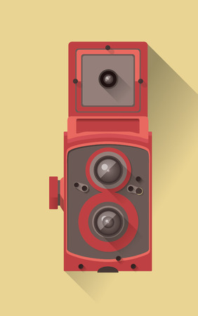 vector flat design long shadow icon of vintage camera Vector