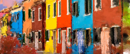 panorama city panorama: colour houses oil painting