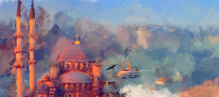 turkey istanbul: oil paint istanbul mosque