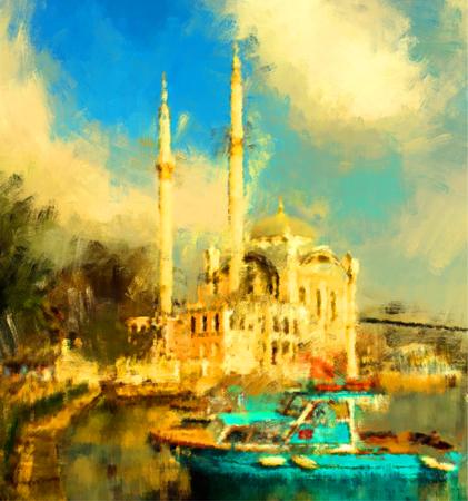 turkey istanbul: oil paint istanbul view bosphorus ortakoy mosque