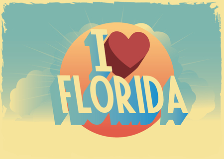 writting: Retro style typographic vector florida postcard with writting i was in london