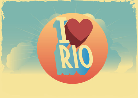 Retro style typographic vector rio postcard with writting i was in london photo