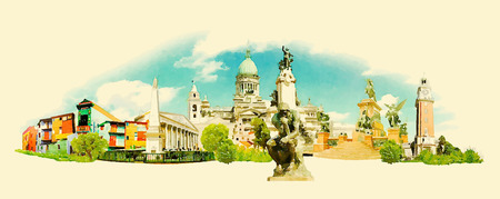 BUENOS AIRES city panoramic watercolor illustration