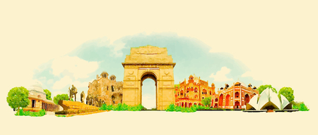 new delhi: WaterColor DELHI panoramic city illustration