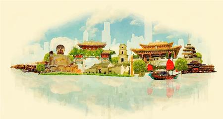 Honk Kong city panoramic watercolor illustration