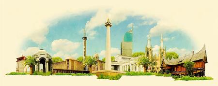 ジャカルタ市内パノラマ水彩イラスト  イラスト・ベクター素材