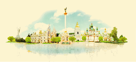 KIEV city panoramic watercolor illustration Illustration