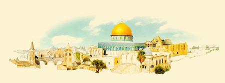 JERUSALEM stads panoramische aquarel illustratie