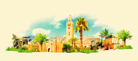 marakech city panoramic watercolor illustration Illustration