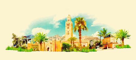 marakech city panoramatický akvarel ilustrační