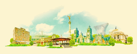 MEXICO city panoramic watercolor illustration Illustration