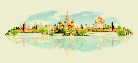 moscow city: MOSCOW panoramic city watercolor illustration
