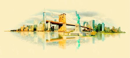 NEW YORK city panoramic watercolor illustration Ilustração