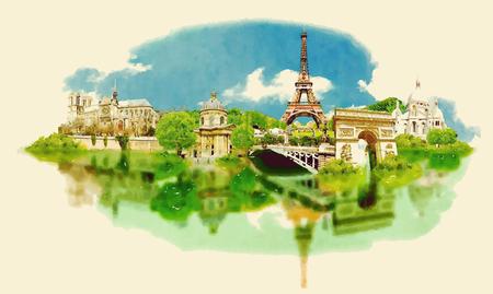 Ilustración panorámica de la ciudad de París acuarela
