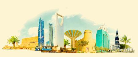 RIYADH illustratie van de stads de panoramische waterverf