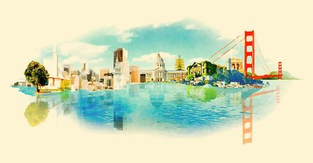 サンフランシスコ市内パノラマ水彩イラスト