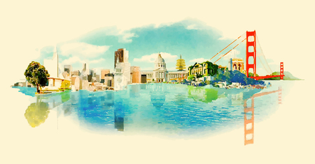 SAN FRANCISCO city panoramic watercolor illustration Иллюстрация
