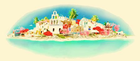 SANTORINI city high resolution panoramic watercolor illustration
