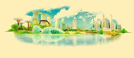 SINGAPORE city panoramic watercolor illustration
