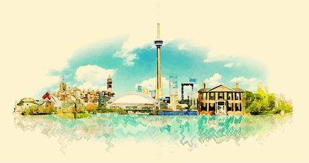 TORONTO city watercolor illustration