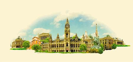 VIENNA ville haute résolution panoramique aquarelle illustration Banque d'images - 73745845