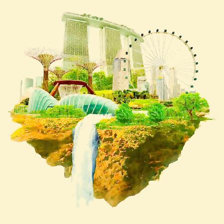 zvýšil: SINGAPUR městské panoramatické zobrazení akvarel s vysokým rozlišením