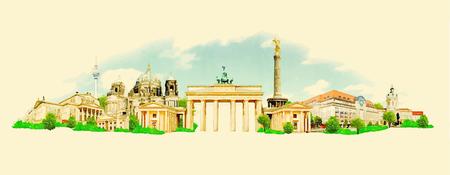 german culture: BERLIN city high resolution panoramic watercolor illustration Illustration