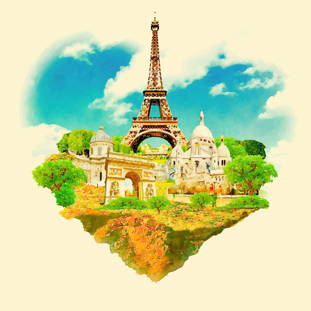watercolor illustration paris view Illustration