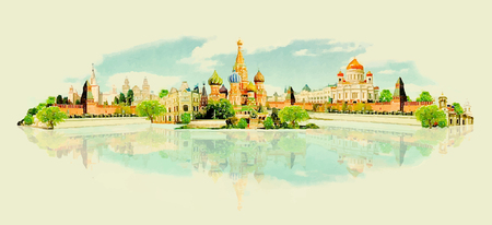 vector watercolor MOSCOW city illustration Иллюстрация