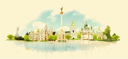 vector de acuarela Ilustración de la ciudad de Kiev
