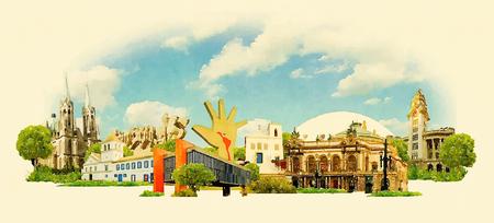 ベクトル水彩サンパウロ市イラスト