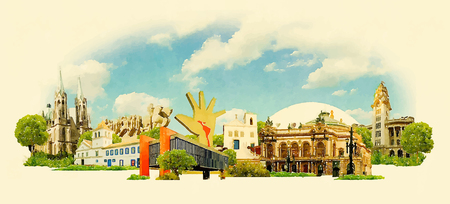 vector aquarel SAO PAULO stadsillustratie