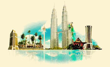 turismo: vector de la acuarela KUALA LUMPUR Ilustración de la ciudad