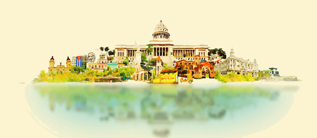 panoramic view: vector watercolor CUBA city illustration