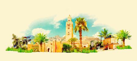 vector aquarel MARRAKECH stad illustratie Stock Illustratie