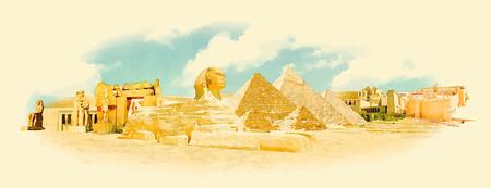 벡터 수채화 이집트 도시 그림