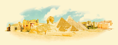 egyptian culture: vector watercolor EGYPT city illustration