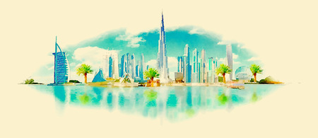 panoramic sky: vector watercolor DUBAI city illustration