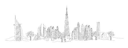 Wektor rysunek odręczny panoramiczny Dubai