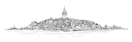 old postcards: vector sketch drawing panoramic galata tower Illustration