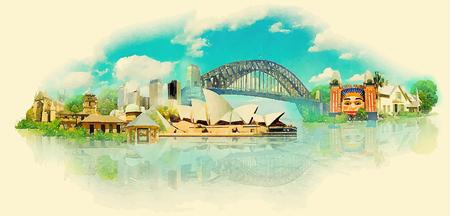 vector aquarel SYDNEY stad illustratie Stock Illustratie